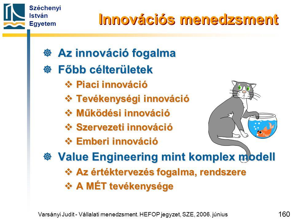 Széchenyi István Egyetem 160 Innovációs menedzsment  Az innováció fogalma  Főbb célterületek  Piaci innováció  Tevékenységi innováció  Működési i