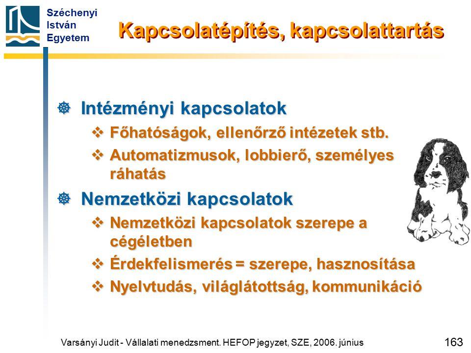 Széchenyi István Egyetem 163 Kapcsolatépítés, kapcsolattartás  Intézményi kapcsolatok  Főhatóságok, ellenőrző intézetek stb.  Automatizmusok, lobbi