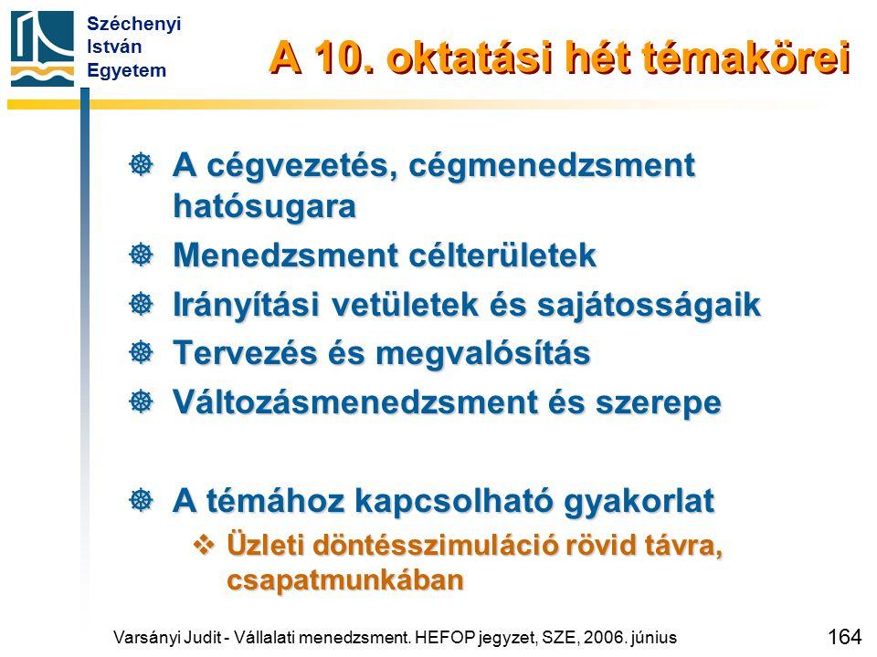 Széchenyi István Egyetem 164 A 10. oktatási hét témakörei  A cégvezetés, cégmenedzsment hatósugara  Menedzsment célterületek  Irányítási vetületek