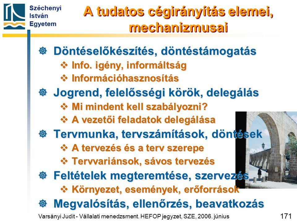 Széchenyi István Egyetem 171 A tudatos cégirányítás elemei, mechanizmusai  Döntéselőkészítés, döntéstámogatás  Info. igény, informáltság  Informáci
