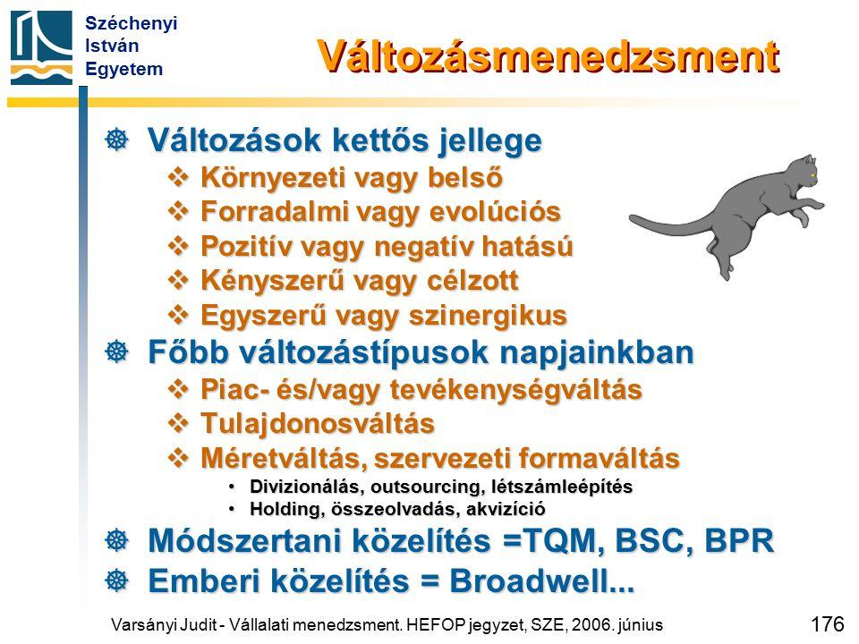 Széchenyi István Egyetem 176 Változásmenedzsment  Változások kettős jellege  Környezeti vagy belső  Forradalmi vagy evolúciós  Pozitív vagy negatí