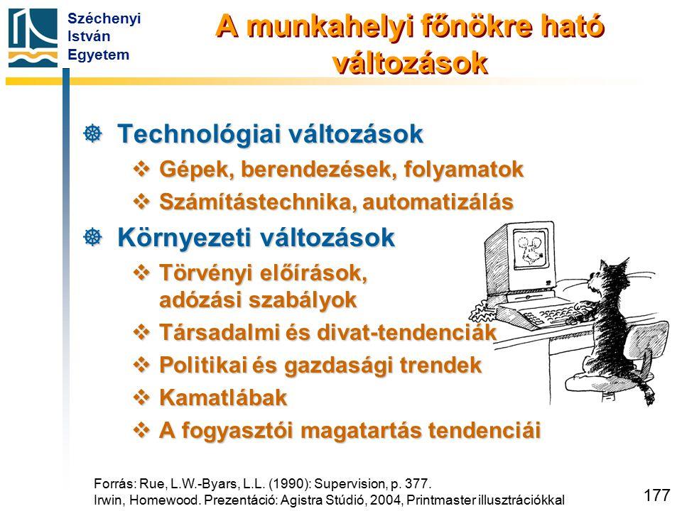 Széchenyi István Egyetem 177 A munkahelyi főnökre ható változások  Technológiai változások  Gépek, berendezések, folyamatok  Számítástechnika, auto
