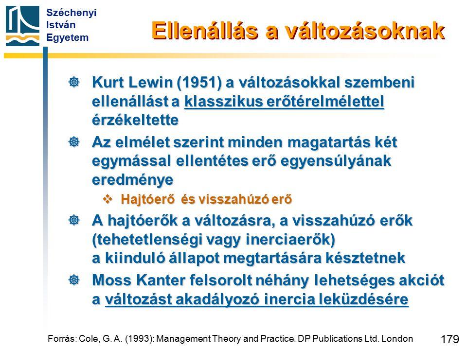 Széchenyi István Egyetem 179 Forrás: Cole, G. A. (1993): Management Theory and Practice. DP Publications Ltd. London Ellenállás a változásoknak  Kurt