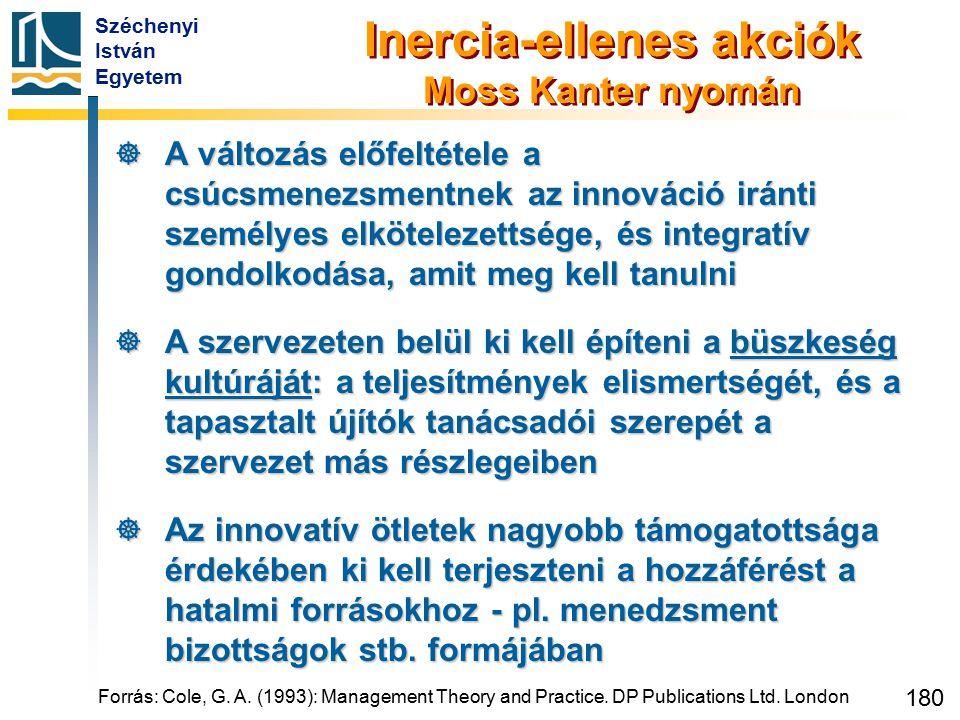Széchenyi István Egyetem 180 Inercia-ellenes akciók Moss Kanter nyomán  A változás előfeltétele a csúcsmenezsmentnek az innováció iránti személyes el