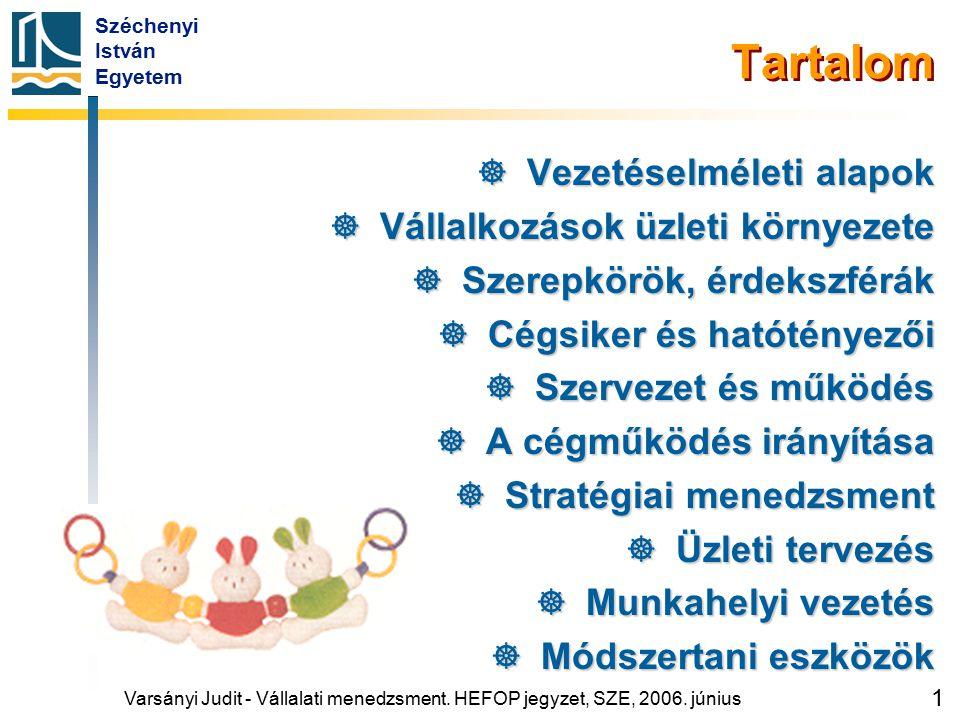 Széchenyi István Egyetem 1 Tartalom  Vezetéselméleti alapok  Vállalkozások üzleti környezete  Szerepkörök, érdekszférák  Cégsiker és hatótényezői