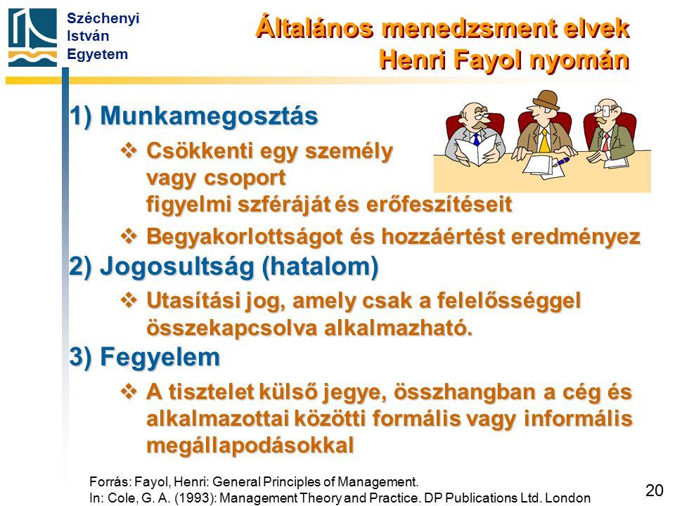 Széchenyi István Egyetem 20 Általános menedzsment elvek Henri Fayol nyomán 1) Munkamegosztás  Csökkenti egy személy vagy csoport figyelmi szféráját é