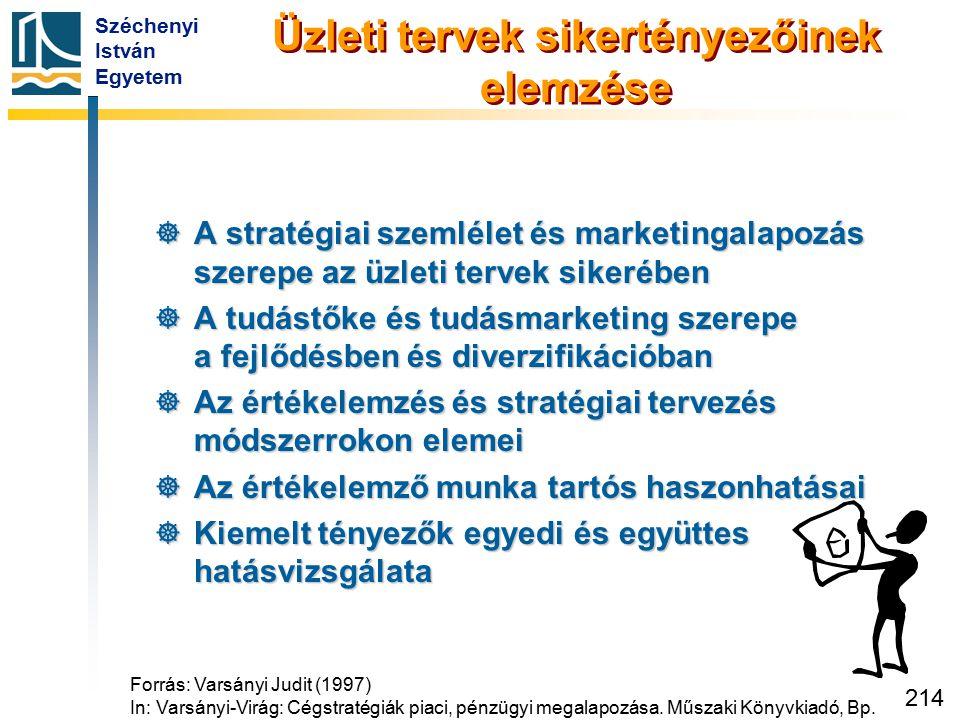 Széchenyi István Egyetem 214 Üzleti tervek sikertényezőinek elemzése  A stratégiai szemlélet és marketingalapozás szerepe az üzleti tervek sikerében