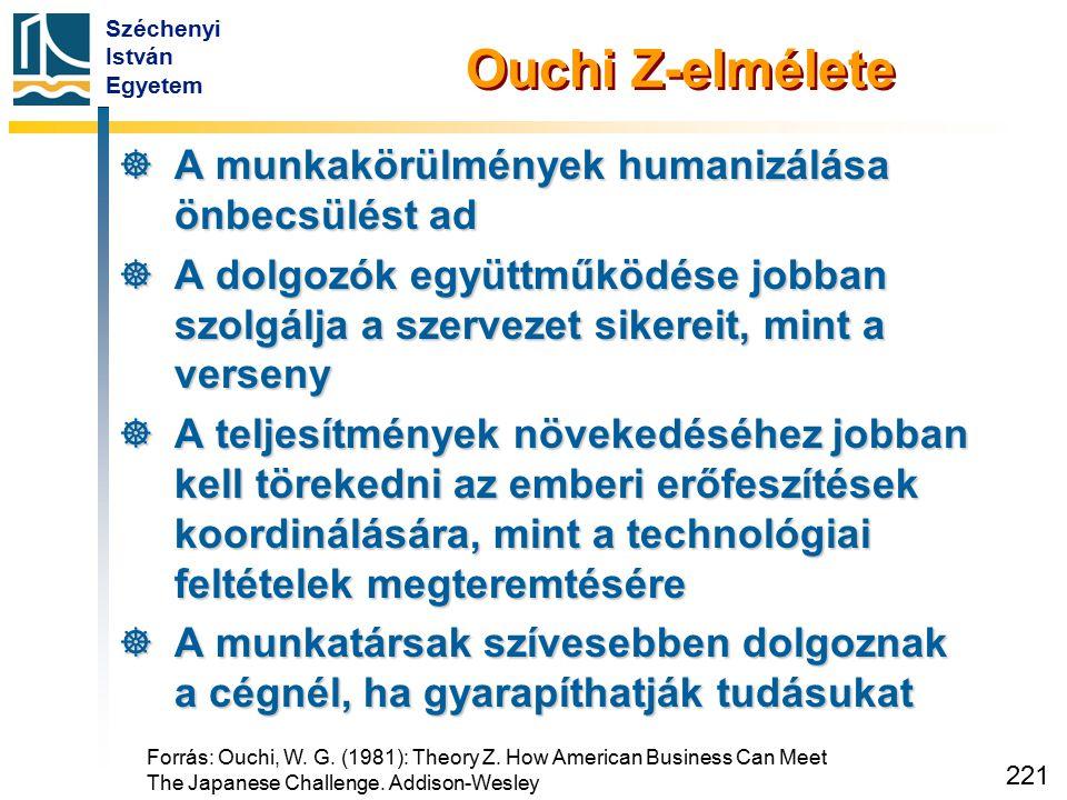 Széchenyi István Egyetem 221 Ouchi Z-elmélete  A munkakörülmények humanizálása önbecsülést ad  A dolgozók együttműködése jobban szolgálja a szerveze