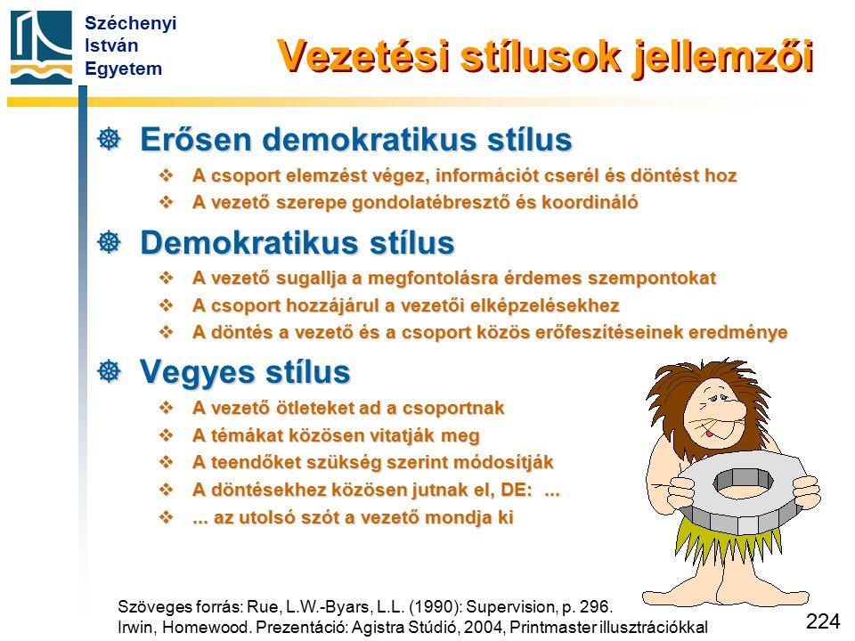 Széchenyi István Egyetem 224 Vezetési stílusok jellemzői  Erősen demokratikus stílus  A csoport elemzést végez, információt cserél és döntést hoz 
