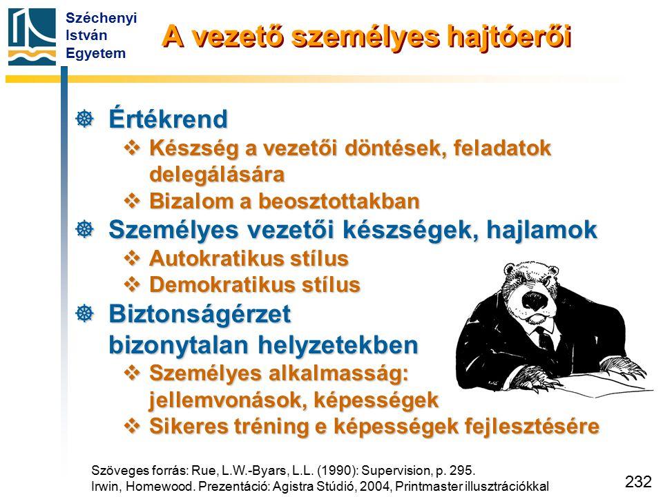 Széchenyi István Egyetem 232 A vezető személyes hajtóerői  Értékrend  Készség a vezetői döntések, feladatok delegálására  Bizalom a beosztottakban