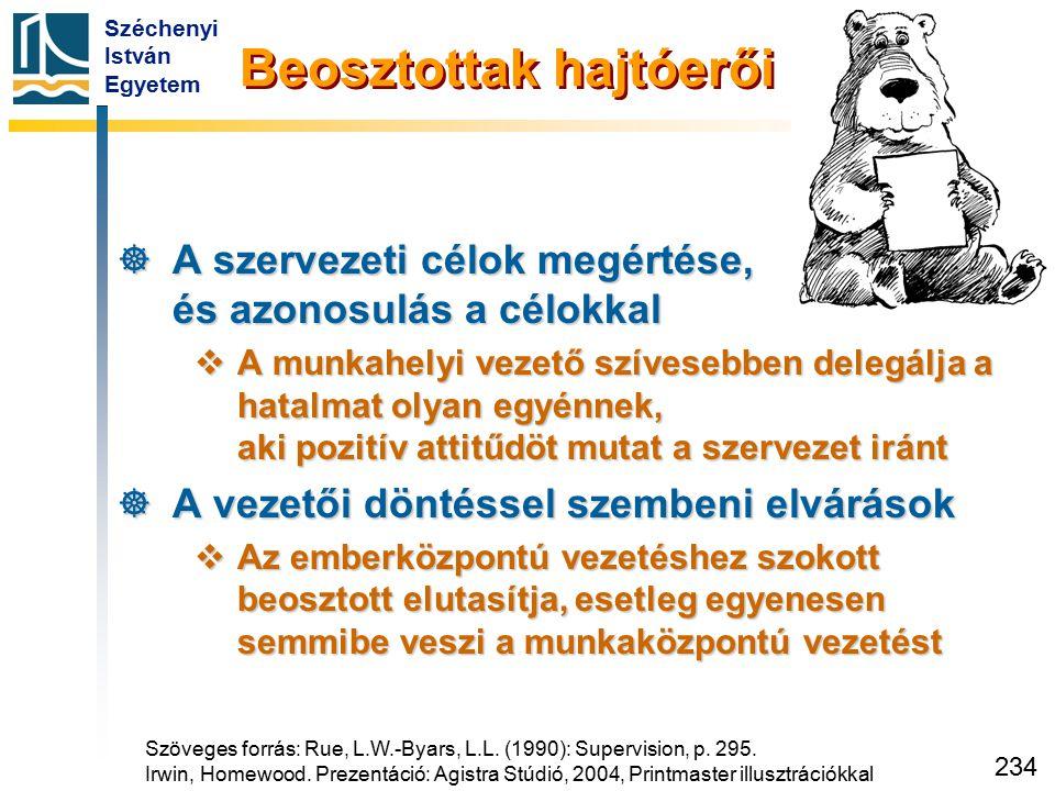 Széchenyi István Egyetem 234 Beosztottak hajtóerői  A szervezeti célok megértése, és azonosulás a célokkal  A munkahelyi vezető szívesebben delegálj