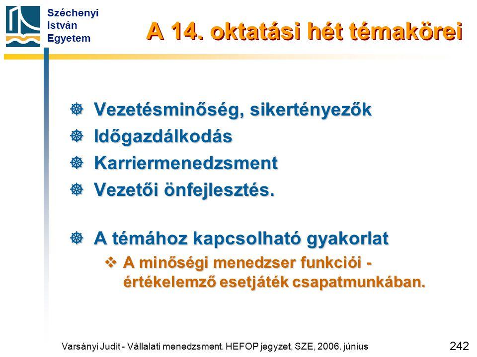 Széchenyi István Egyetem 242 A 14. oktatási hét témakörei  Vezetésminőség, sikertényezők  Időgazdálkodás  Karriermenedzsment  Vezetői önfejlesztés