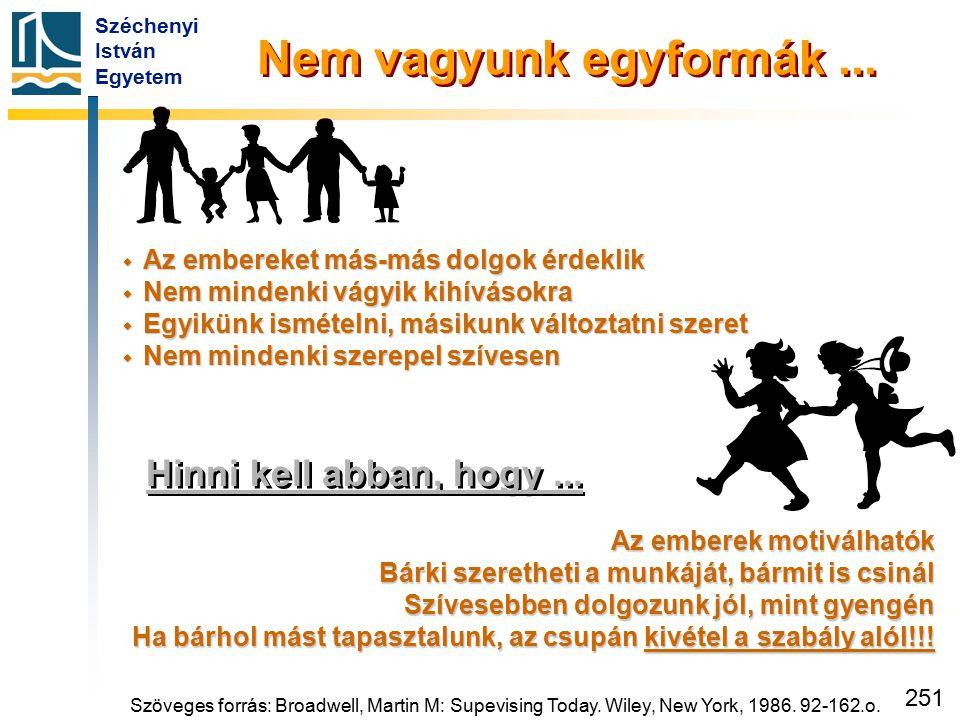 Széchenyi István Egyetem 251 Hinni kell abban, hogy... Az emberek motiválhatók Bárki szeretheti a munkáját, bármit is csinál Szívesebben dolgozunk jól