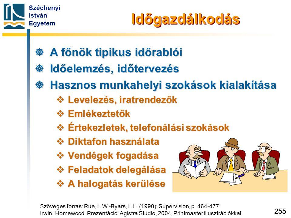 Széchenyi István Egyetem 255 Időgazdálkodás  A főnök tipikus időrablói  Időelemzés, időtervezés  Hasznos munkahelyi szokások kialakítása  Levelezé