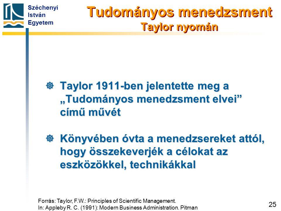 """Széchenyi István Egyetem 25 Tudományos menedzsment Taylor nyomán  Taylor 1911-ben jelentette meg a """"Tudományos menedzsment elvei"""" című művét  Könyvé"""