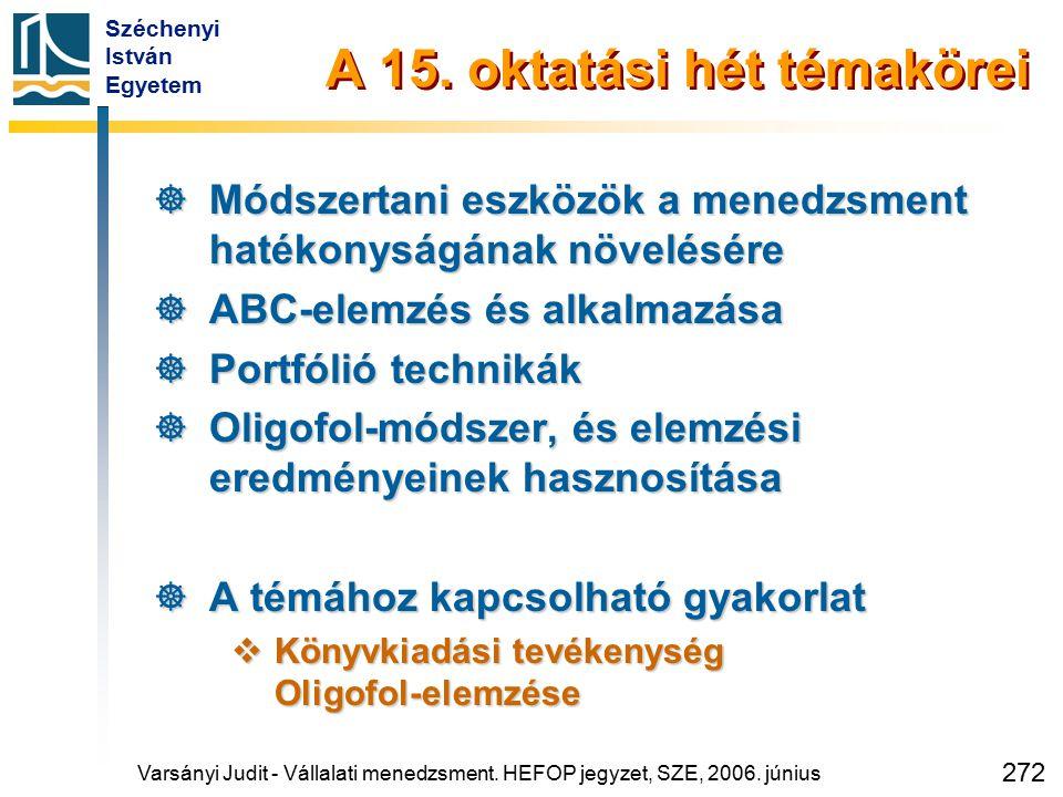 Széchenyi István Egyetem 272 A 15. oktatási hét témakörei  Módszertani eszközök a menedzsment hatékonyságának növelésére  ABC-elemzés és alkalmazása