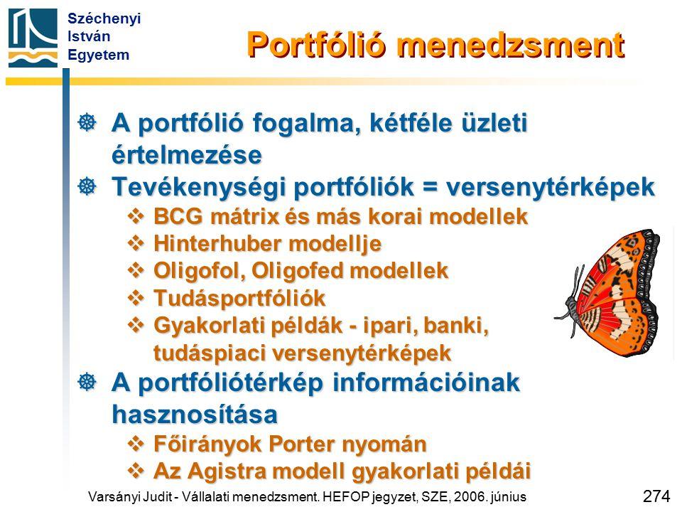 Széchenyi István Egyetem 274 Portfólió menedzsment  A portfólió fogalma, kétféle üzleti értelmezése  Tevékenységi portfóliók = versenytérképek  BCG