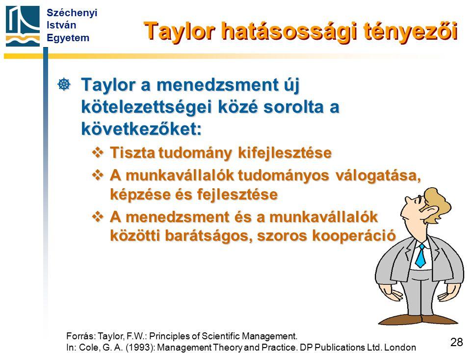Széchenyi István Egyetem 28 Taylor hatásossági tényezői  Taylor a menedzsment új kötelezettségei közé sorolta a következőket:  Tiszta tudomány kifej