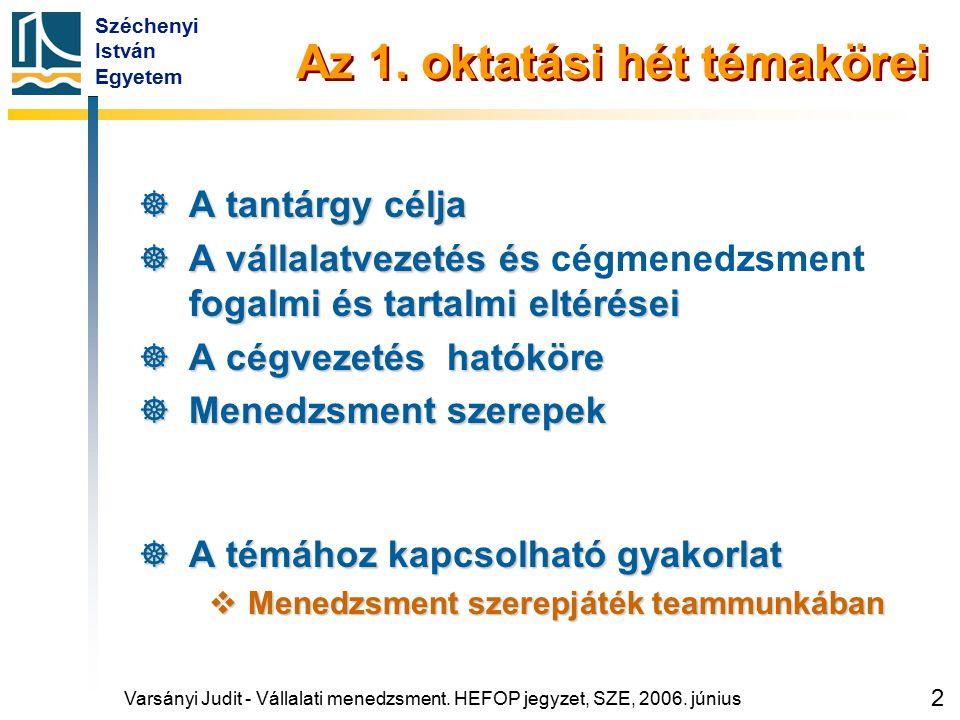 Széchenyi István Egyetem 2 Az 1. oktatási hét témakörei  A tantárgy célja  A vállalatvezetés és fogalmi és tartalmi eltérései  A vállalatvezetés és