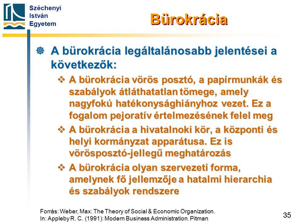 Széchenyi István Egyetem 35 Bürokrácia  A bürokrácia legáltalánosabb jelentései a következők:  A bürokrácia vörös posztó, a papírmunkák és szabályok
