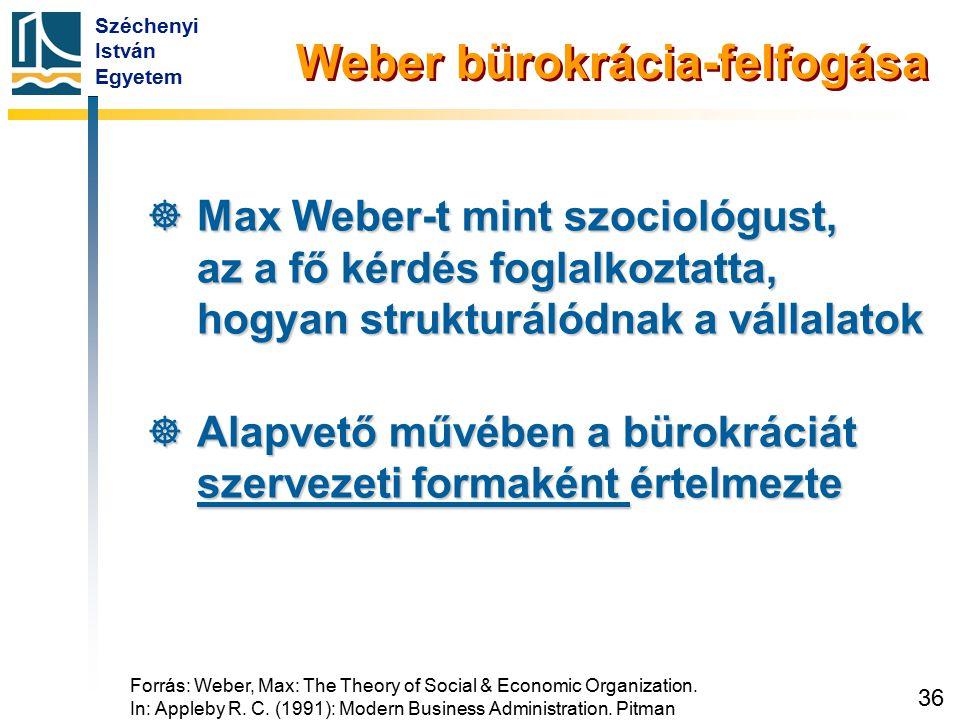 Széchenyi István Egyetem 36 Weber bürokrácia-felfogása  Max Weber-t mint szociológust, az a fő kérdés foglalkoztatta, hogyan strukturálódnak a vállal