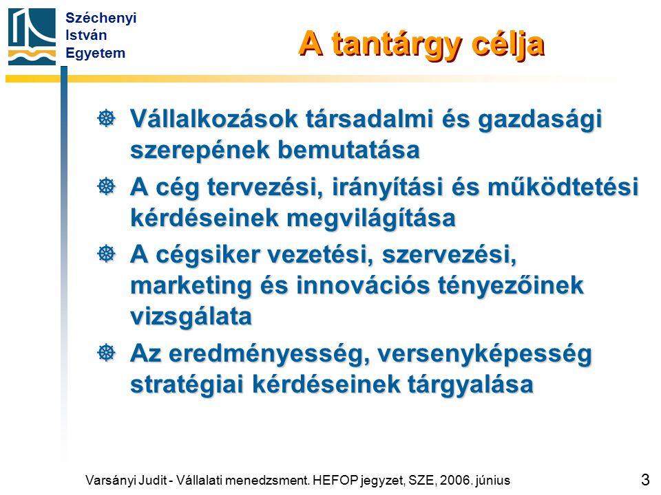 Széchenyi István Egyetem 3 A tantárgy célja  Vállalkozások társadalmi és gazdasági szerepének bemutatása  A cég tervezési, irányítási és működtetési