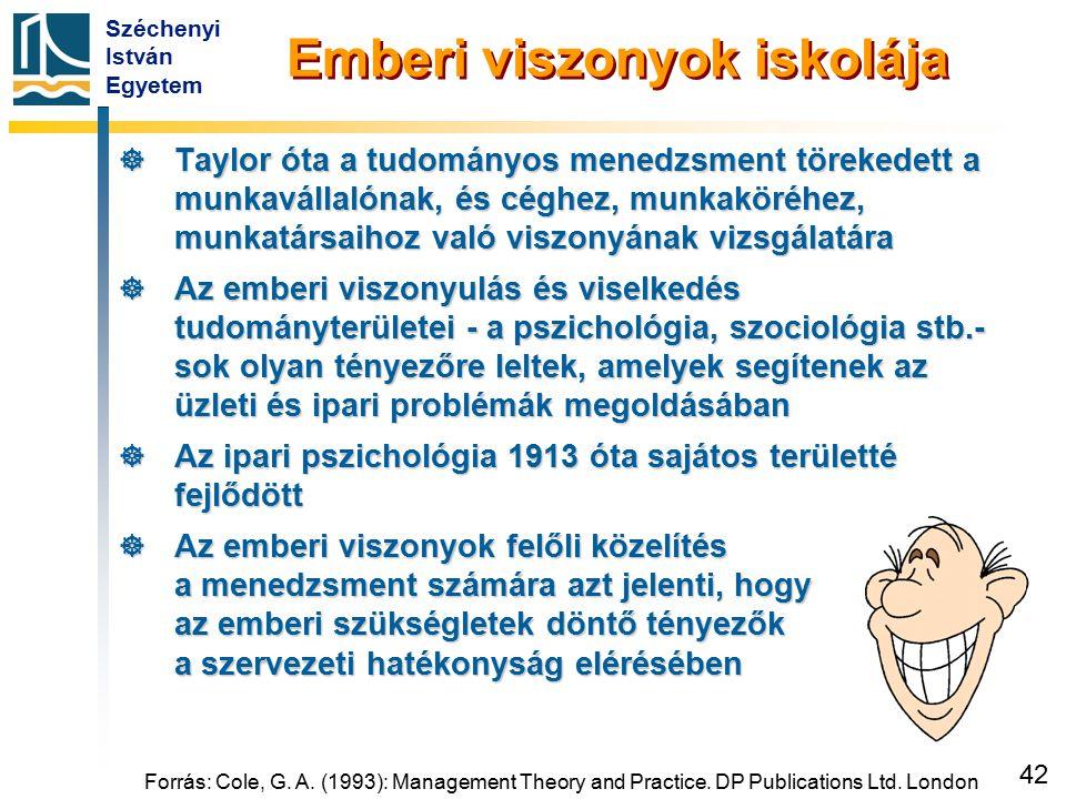 Széchenyi István Egyetem 42 Emberi viszonyok iskolája  Taylor óta a tudományos menedzsment törekedett a munkavállalónak, és céghez, munkaköréhez, mun