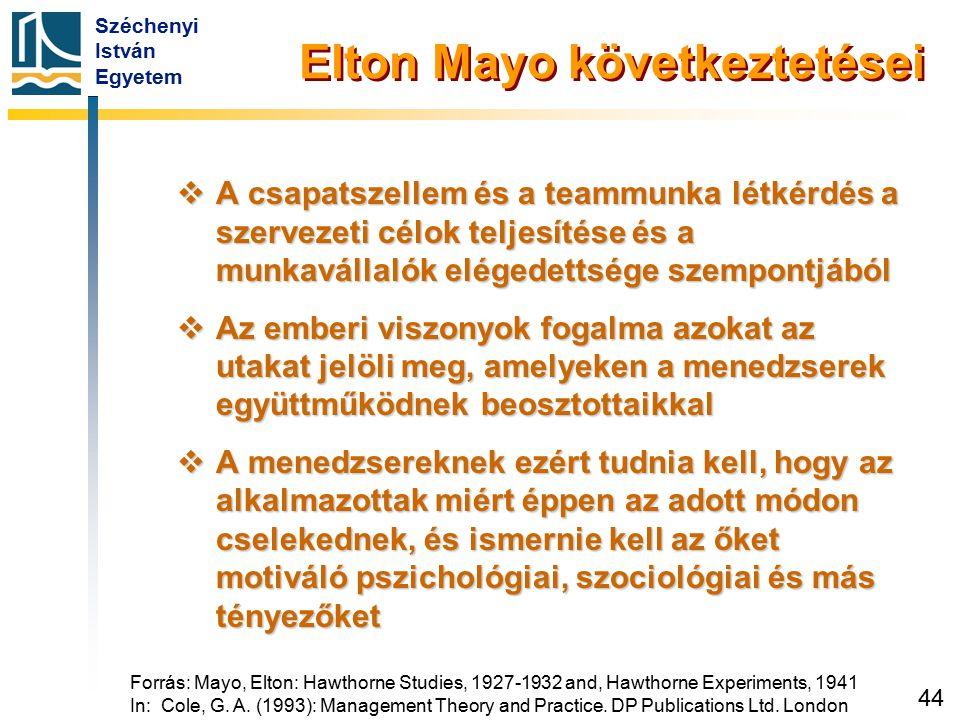 Széchenyi István Egyetem 44 Elton Mayo következtetései  A csapatszellem és a teammunka létkérdés a szervezeti célok teljesítése és a munkavállalók el