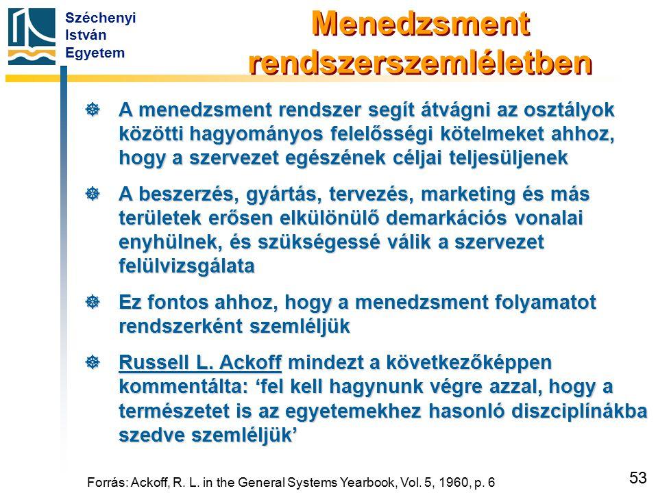 Széchenyi István Egyetem 53 Forrás: Ackoff, R. L. in the General Systems Yearbook, Vol. 5, 1960, p. 6 Menedzsment rendszerszemléletben  A menedzsment