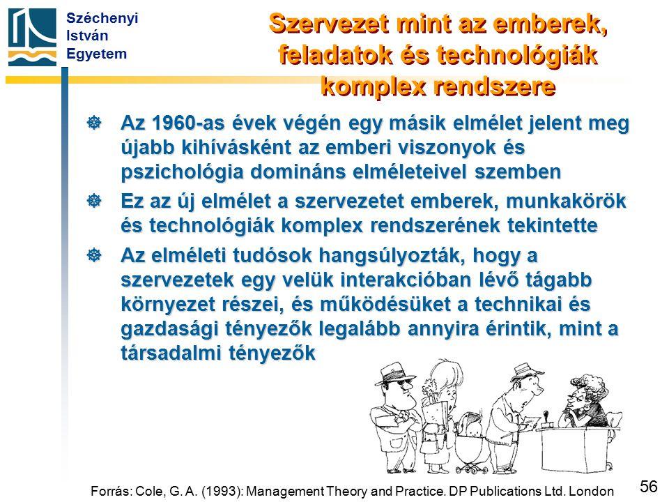 Széchenyi István Egyetem 56 Forrás: Cole, G. A. (1993): Management Theory and Practice. DP Publications Ltd. London Szervezet mint az emberek, feladat