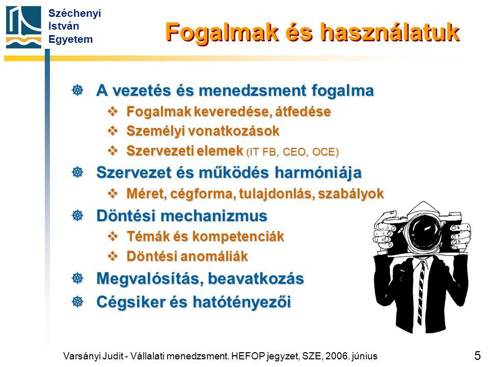 Széchenyi István Egyetem 86 Forrás: Illés Mária (1997): Vezetői gazdaságtan.