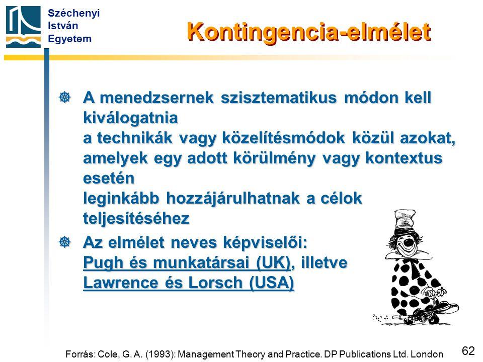 Széchenyi István Egyetem 62 Forrás: Cole, G. A. (1993): Management Theory and Practice. DP Publications Ltd. London Kontingencia-elmélet  A menedzser