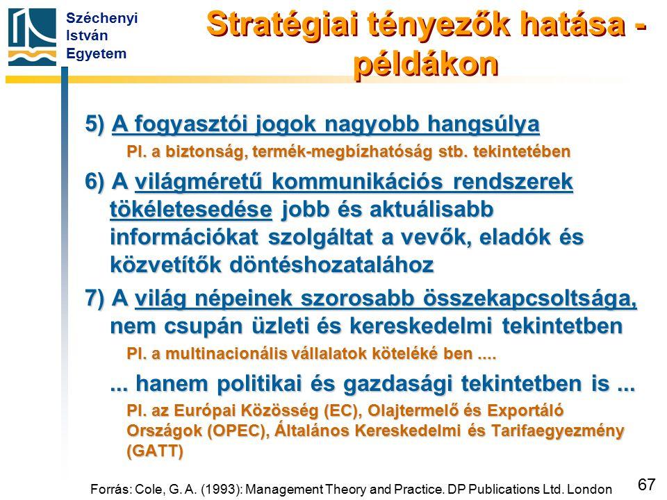 Széchenyi István Egyetem 67 Forrás: Cole, G. A. (1993): Management Theory and Practice. DP Publications Ltd. London Stratégiai tényezők hatása - példá