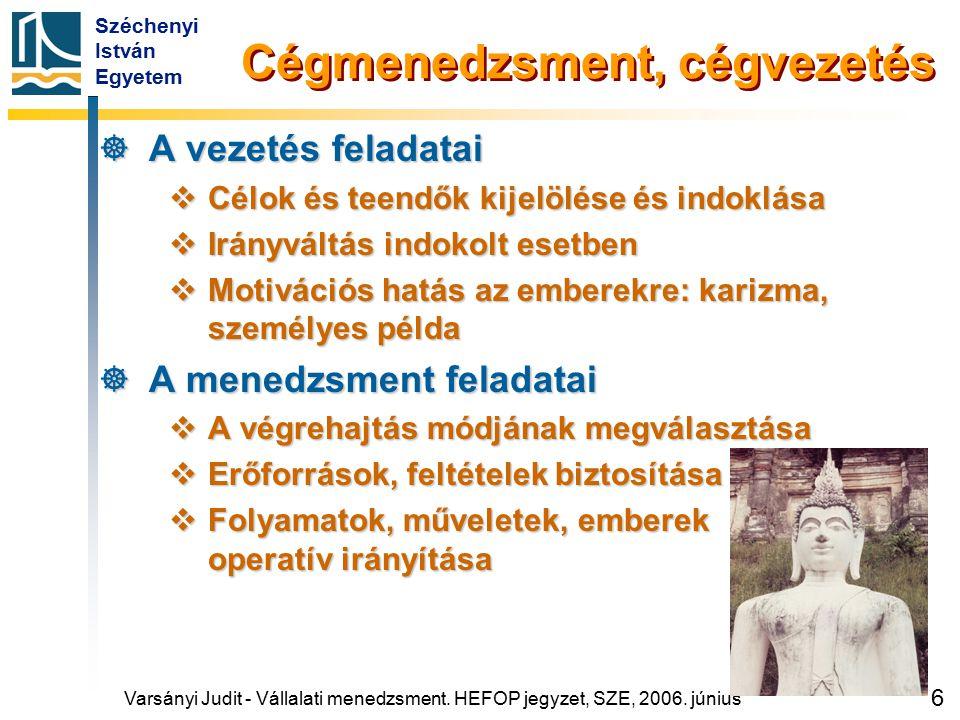 Széchenyi István Egyetem 97 A cégsiker ismérvei és összetevői  Ismertség, elismertség, lobbierő  Biztos stratégiai pozíciók  Részletezését lásd az Agistra-modell diagnosztikai moduljában  Fejlődőképesség  Céggyarapodás Varsányi Judit - Vállalati menedzsment.