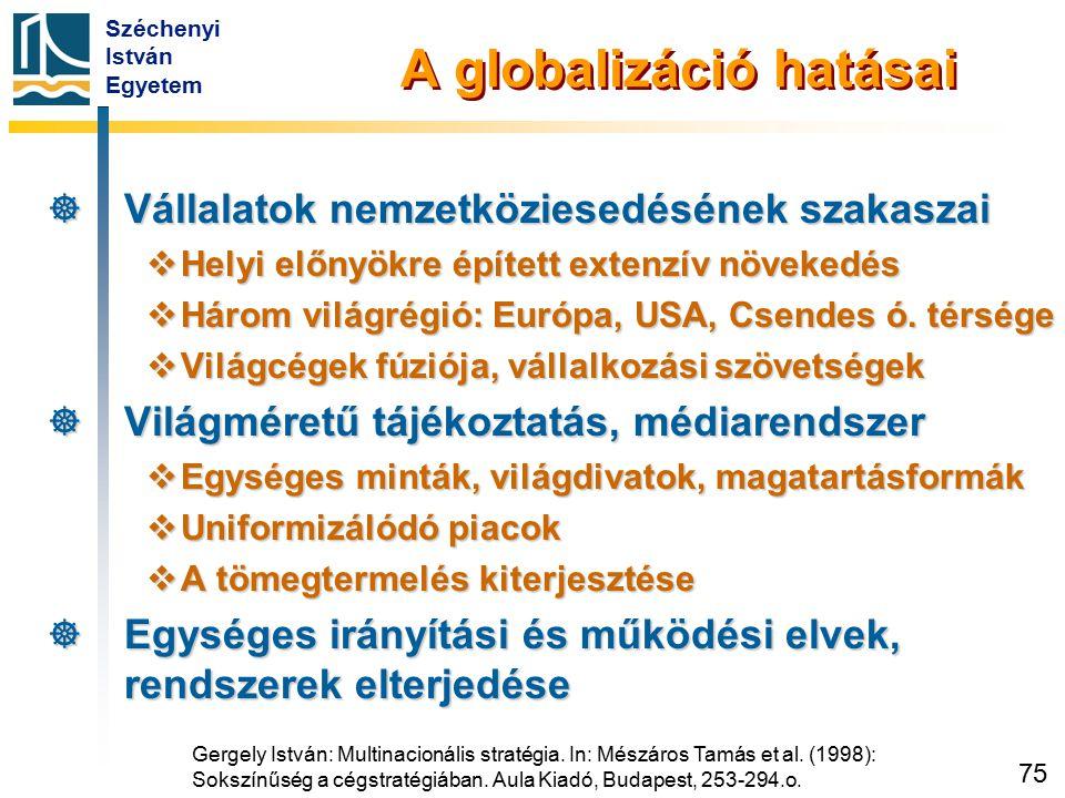 Széchenyi István Egyetem 75 A globalizáció hatásai  Vállalatok nemzetköziesedésének szakaszai  Helyi előnyökre épített extenzív növekedés  Három vi