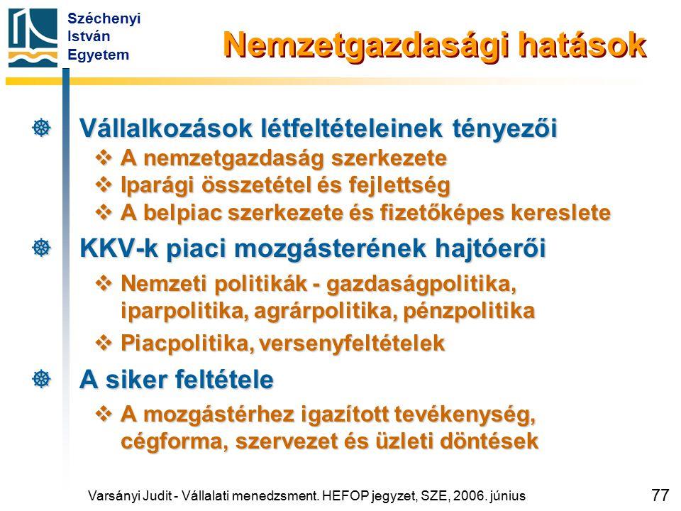 Széchenyi István Egyetem 77 Nemzetgazdasági hatások  Vállalkozások létfeltételeinek tényezői  A nemzetgazdaság szerkezete  Iparági összetétel és fe