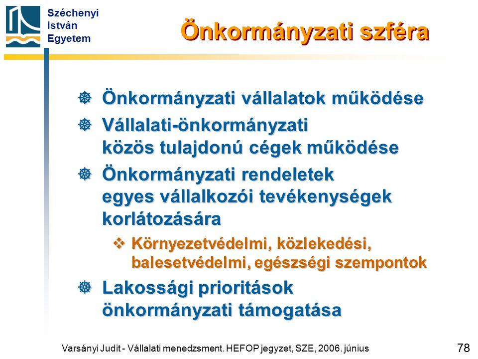 Széchenyi István Egyetem 78 Önkormányzati szféra  Önkormányzati vállalatok működése  Vállalati-önkormányzati közös tulajdonú cégek működése  Önkorm