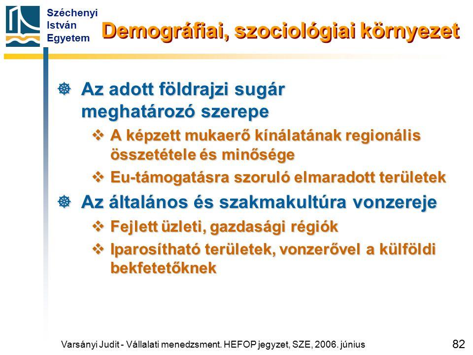 Széchenyi István Egyetem 82  Az adott földrajzi sugár meghatározó szerepe  A képzett mukaerő kínálatának regionális összetétele és minősége  Eu-tám