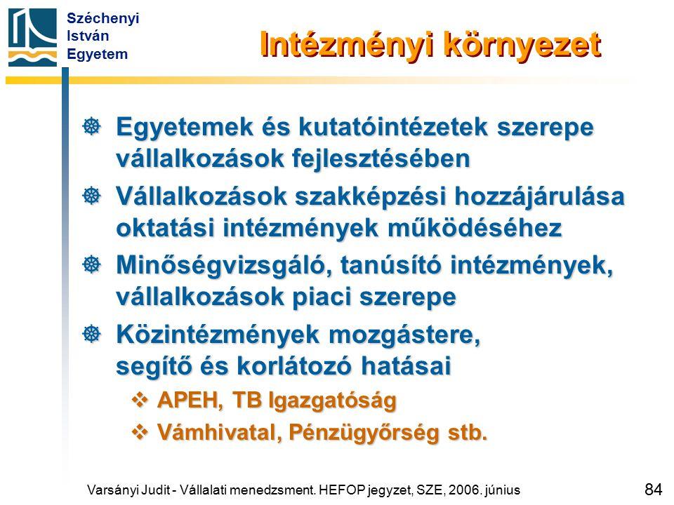 Széchenyi István Egyetem 84 Intézményi környezet  Egyetemek és kutatóintézetek szerepe vállalkozások fejlesztésében  Vállalkozások szakképzési hozzá