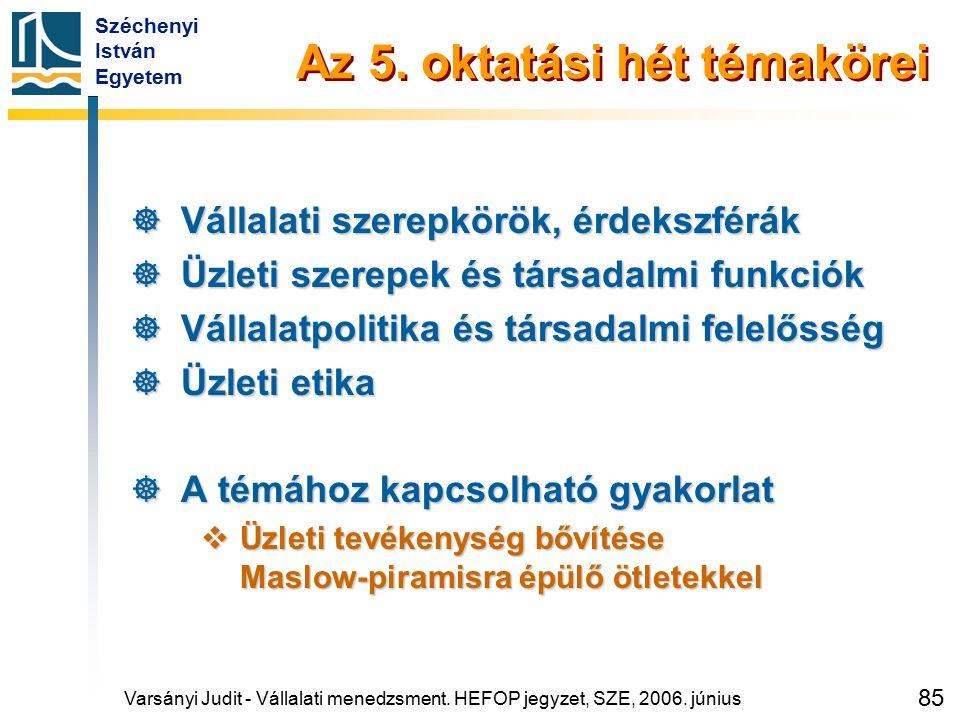 Széchenyi István Egyetem 85 Az 5. oktatási hét témakörei  Vállalati szerepkörök, érdekszférák  Üzleti szerepek és társadalmi funkciók  Vállalatpoli