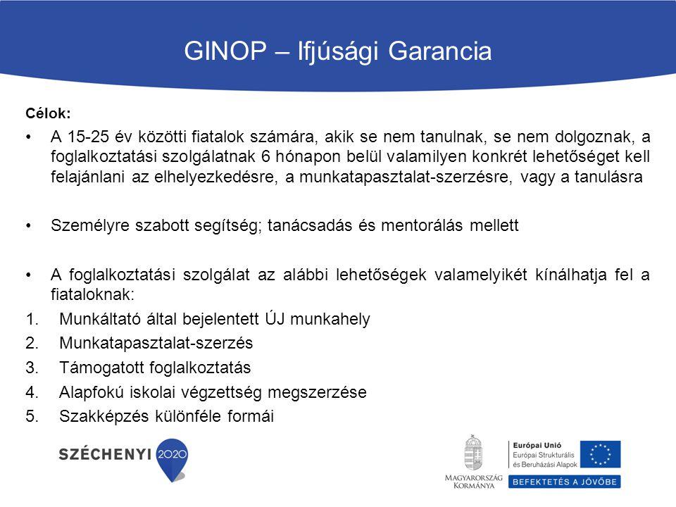 GINOP – Ifjúsági Garancia Célok: A 15-25 év közötti fiatalok számára, akik se nem tanulnak, se nem dolgoznak, a foglalkoztatási szolgálatnak 6 hónapon