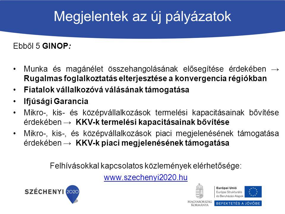 Megjelentek az új pályázatok Ebből 5 GINOP: Munka és magánélet összehangolásának elősegítése érdekében → Rugalmas foglalkoztatás elterjesztése a konve