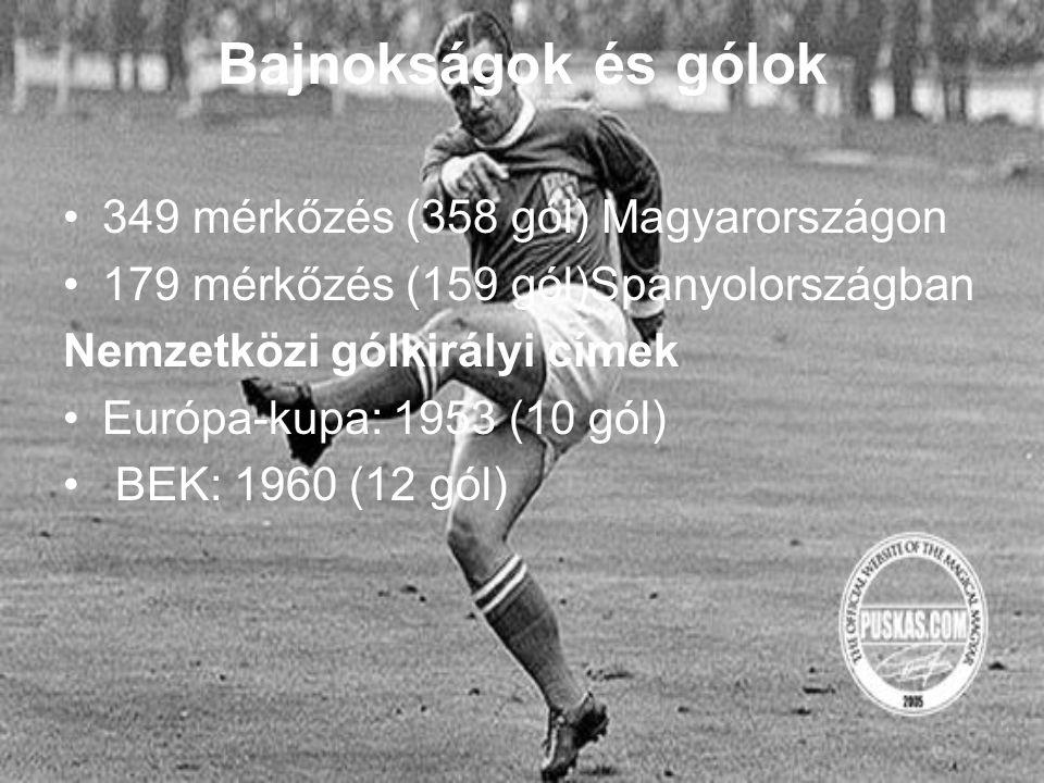 Bajnokságok és gólok 349 mérkőzés (358 gól) Magyarországon 179 mérkőzés (159 gól)Spanyolországban Nemzetközi gólkirályi címek Európa-kupa: 1953 (10 gól) BEK: 1960 (12 gól)