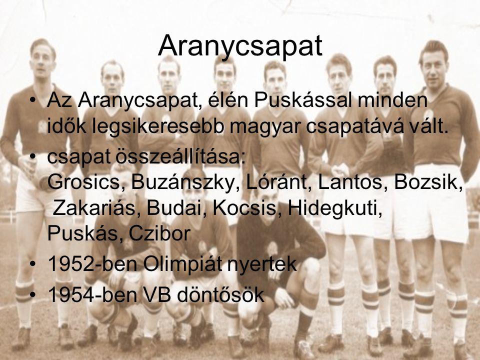 Aranycsapat Az Aranycsapat, élén Puskással minden idők legsikeresebb magyar csapatává vált.