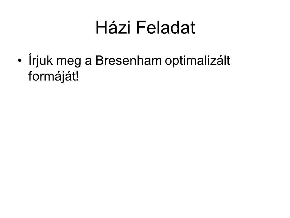 Házi Feladat Írjuk meg a Bresenham optimalizált formáját!