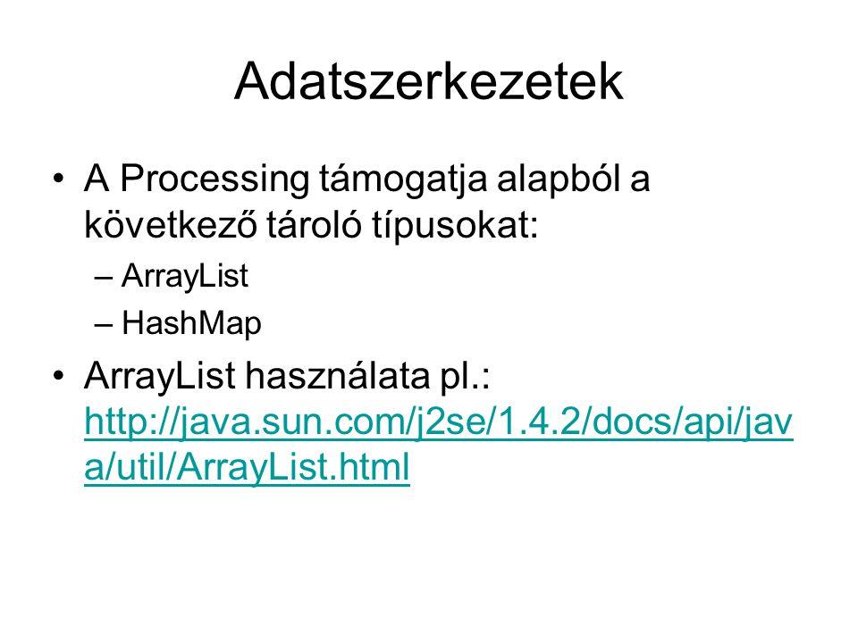 Adatszerkezetek A Processing támogatja alapból a következő tároló típusokat: –ArrayList –HashMap ArrayList használata pl.: http://java.sun.com/j2se/1.4.2/docs/api/jav a/util/ArrayList.html http://java.sun.com/j2se/1.4.2/docs/api/jav a/util/ArrayList.html
