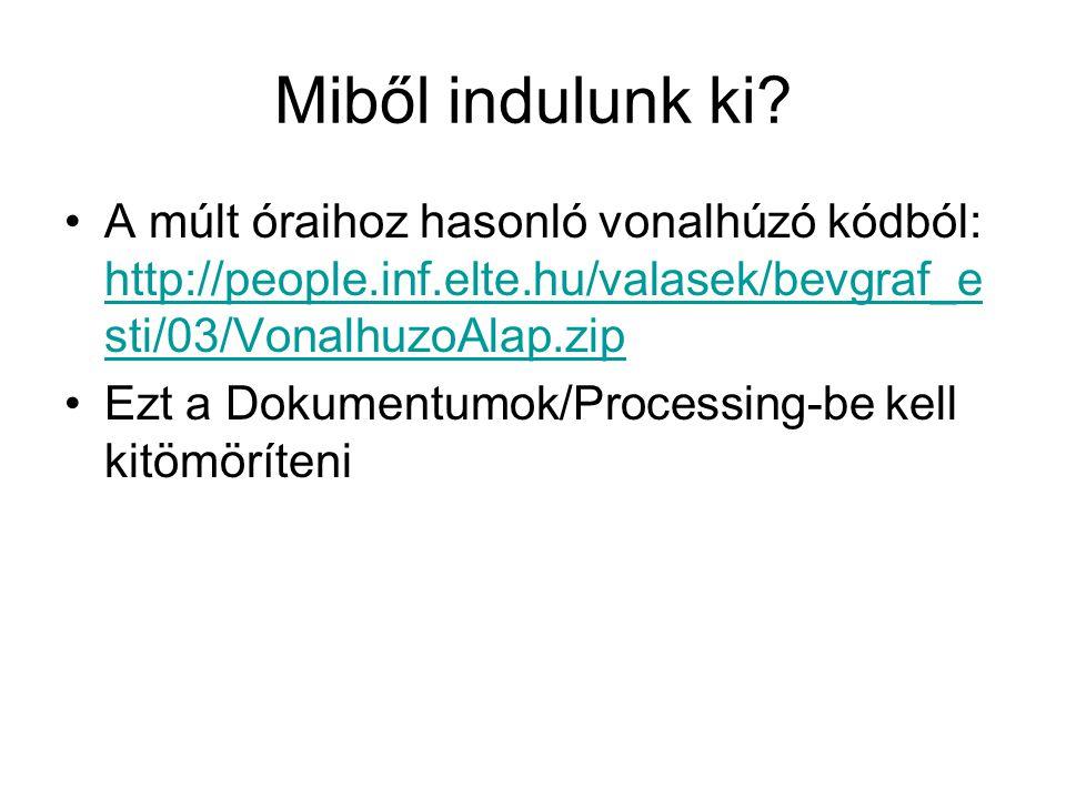VonalhuzoAlap int dragStartX, dragStartY; int dragEndX, dragEndY; void setup() { size(400, 400); } void draw() { background(220); line(dragStartX, dragStartY, dragEndX, dragEndY); }