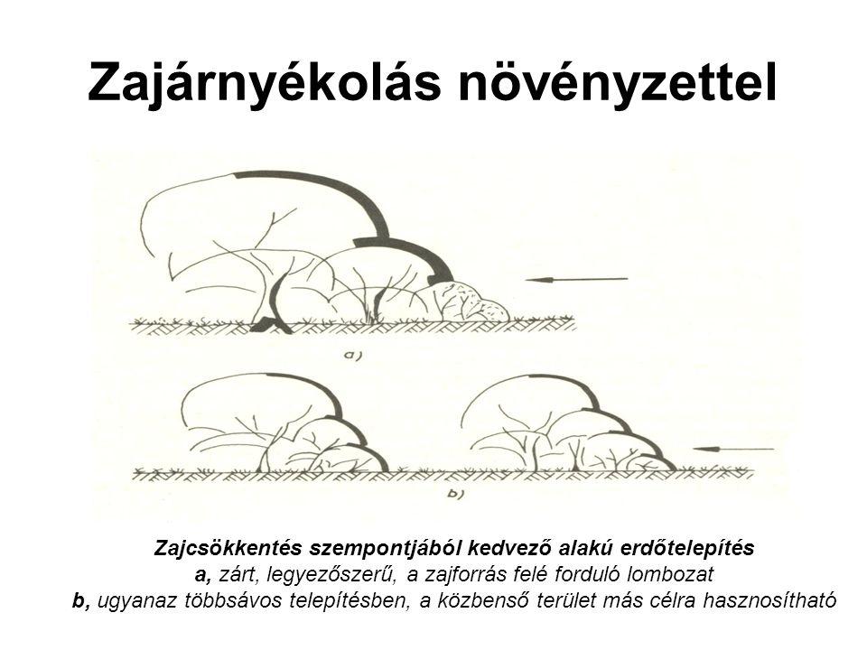 Zajárnyékolás növényzettel Zajcsökkentés szempontjából kedvező alakú erdőtelepítés a, zárt, legyezőszerű, a zajforrás felé forduló lombozat b, ugyanaz többsávos telepítésben, a közbenső terület más célra hasznosítható