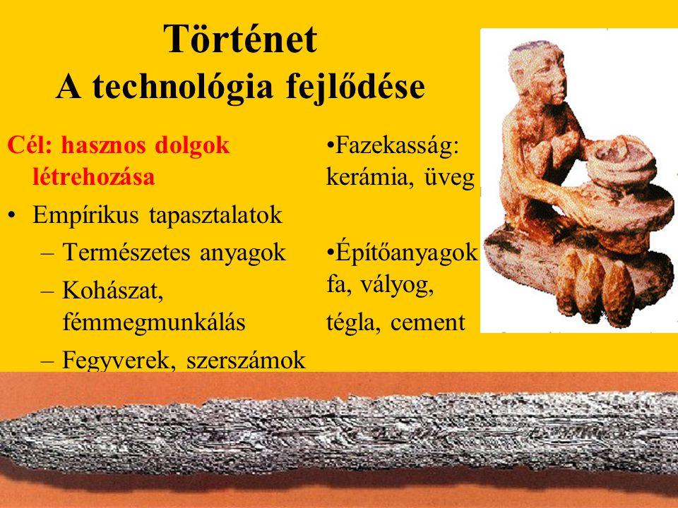 Történet A technológia fejlődése Cél: hasznos dolgok létrehozása Empírikus tapasztalatok –Természetes anyagok –Kohászat, fémmegmunkálás –Fegyverek, sz