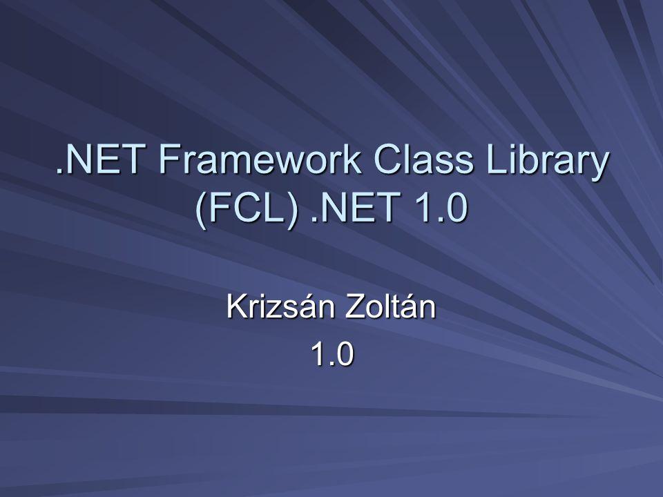 .NET Framework Class Library (FCL).NET 1.0 Krizsán Zoltán 1.0
